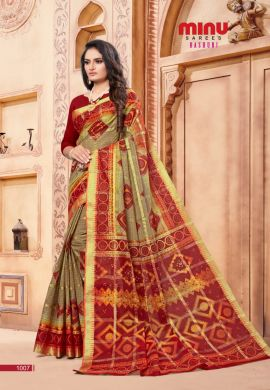 Minu Red Cotton Printed Designer Saree By Minu Sarees