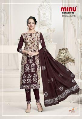 Minu Brown Batik Print Exclusive Winter Collection Salwarsuit