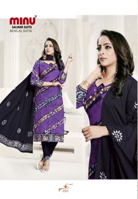 Minu Purple Batik Print Exclusive Winter Collection Salwarsuit