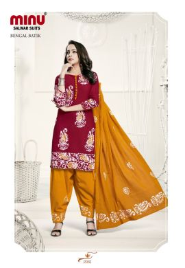 Minu Red Batik Print Exclusive Winter Collection Salwarsuit