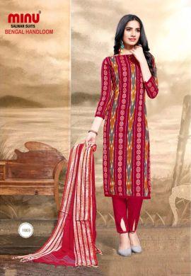Minu Multi Pure Handloom Cotton Printed Salwarsuit