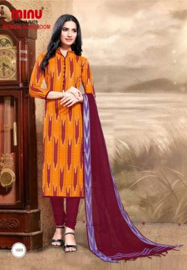 Minu Golden Pure Handloom Cotton Printed Salwarsuit