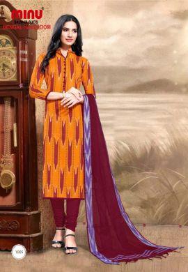 Minu Golden Pure Handloom Cotton Printed Salwarsuit