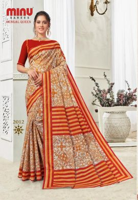 Minu Multi Cotton Printed Best Selling Sarees