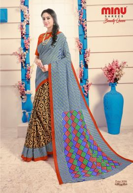 Minu Multi Cotton Digital Printed Sarees
