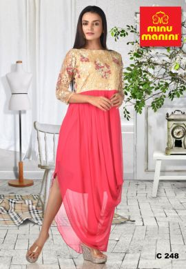 Minu Cream Heavy Embroidery Net Yolk With Pink Georgette Cowl Gown