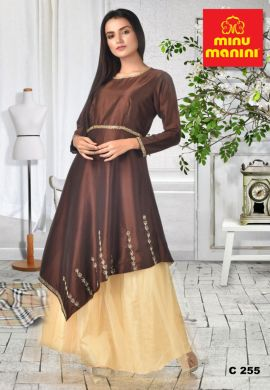 Minu Chocolate Beige Dola Silk Dress With  Brown Cape Gown