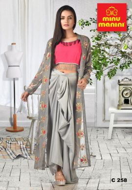Minu Grey Pink Crop Top Grey Skirt And Grey Heavy Embroidery Gown