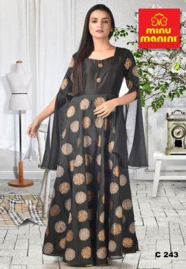 Minu Black Fabric Details  Chanderi & Dola Silk Gown