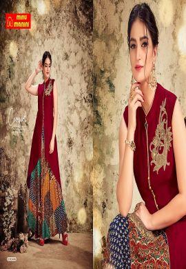 Minu Maroon Fabric Details  Reyon & Dola Silk With Jardousi Bu Gown