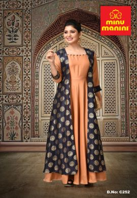 Minu Light Brown Fabric Details Dola Silk With Gold Print Gown