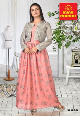Minu Pink And Grey Dola Silk Gown With Embroidered Foli Print Jacket Gown