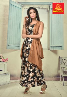 Minu Black Dola Silk Floral Print Gown With Fancy Fabric Jack Gown