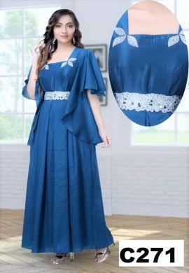 Minu Blue Designer Dola Silk Fabric Fashionable Gown Gown