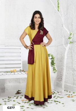 Minu Red And Yellow Minu Manini Designer Dola Silk Fabric Party Wear Gown
