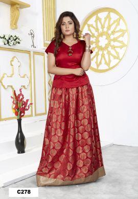 Minu Red Minu Manini Fashionable Dola Top With Banarasi Sil Gown