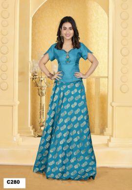 Minu Sea Blue Minu Manini Fashionable Dola Top With Banarasi Sil Gown