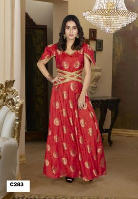Minu Red Minu Manini Fashionable Boti And Lama Fabric Party Gown