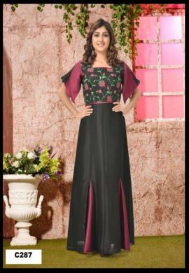Minu Black Muslin Fabric With Floral Embroidery Work On Top Gown