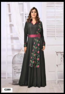 Minu Black Muslin Fabric With Floral Embroidery Work On Side Gown