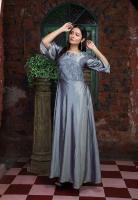 Minu Grey Crackle & Embroidered Net Gown
