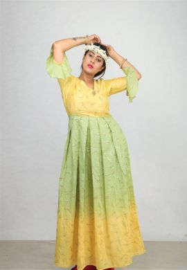 Minu Lemon Green New Exclusive Chanderi Fabric Gown With Pattern Fo Gown