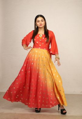 Minu Golden Orange New Exclusive Chanderi Fabric Gown With Pattern Fo Gown