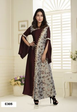 Minu Brown Muslin And Banarasi Foil Print Gown