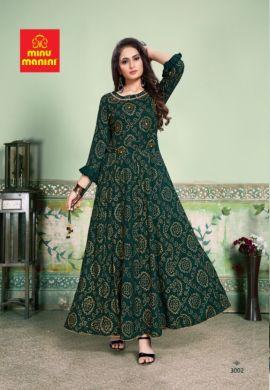 Minu Green Premium Rayon Kurti With Bandhej Gold Print New De Kurti