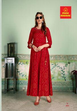 Minu Red Premium Rayon Kurti With Bandhej Gold Print New De Kurti