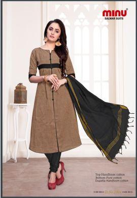 Minu Khaki Dark Cotton Handloom Printed Salwarsuit