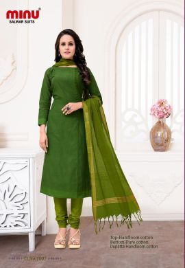 Minu Green Cotton Handloom Printed Salwarsuit