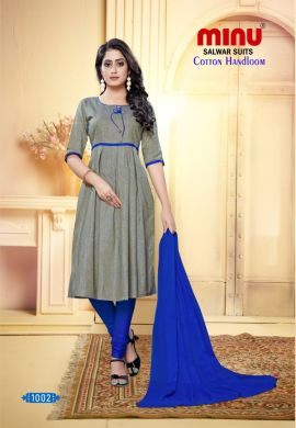 Minu Light Grey Designer Handloom Fabric Unstitched Cotton Handloo Salwarsuit