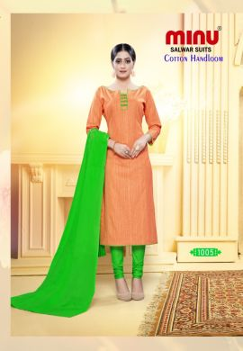 Minu Orange With Green Designer Handloom Fabric Unstitched Cotton Handloo Salwarsuit