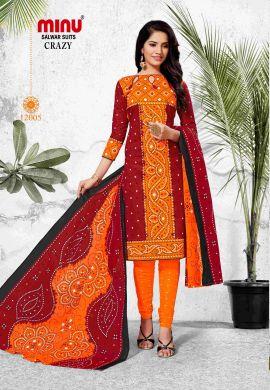 Minu Red Orange Cotton Printed Chunri Design Unstitched Salwar Salwarsuit