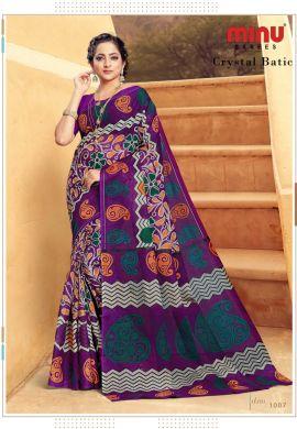 Minu Purple Cotton Printed Batik Print Designer Saree By Minu Sarees