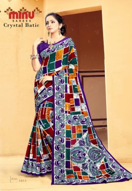 Minu Multi Cotton Printed Batik Print Designer Saree By Minu Sarees
