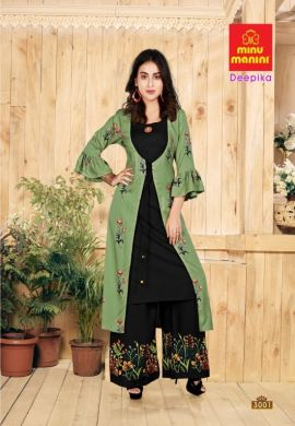 Minu Green Premium Rayon Long Kurti With Long Jacket Kurti
