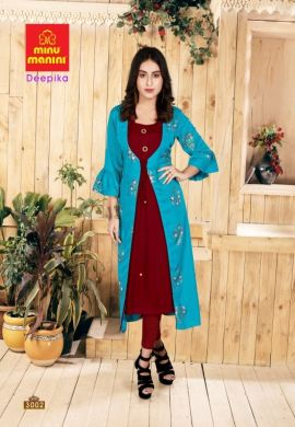 Minu Blue Premium Rayon Long Kurti With Long Jacket Kurti