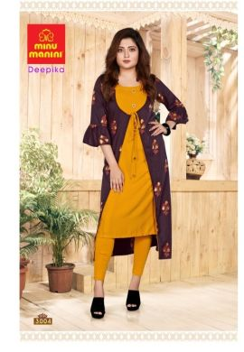Minu Purple Premium Rayon Long Kurti With Long Jacket Kurti