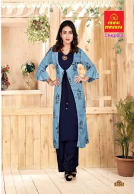 Minu Sea Blue Premium Rayon Long Kurti With Long Jacket Kurti