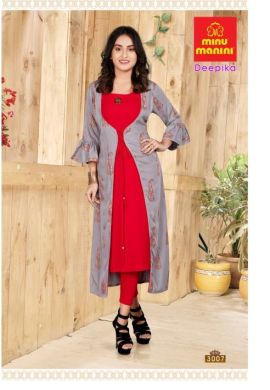 Minu Grey Premium Rayon Long Kurti With Long Jacket Kurti