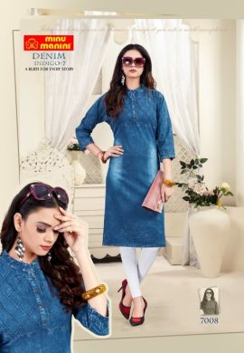 Minu Denim Blue Denim Fabric Long Kurtis Kurti