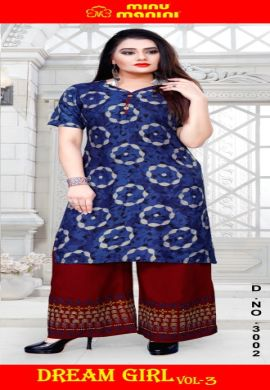 Minu Blue Pure Cotton Long Designer Top Kurti
