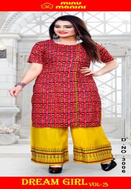 Minu Multi Pure Cotton Long Designer Top Kurti