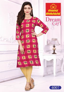 Minu Light Pink Cotton Printed Designer Kurti Dream Girl 4 Kurti