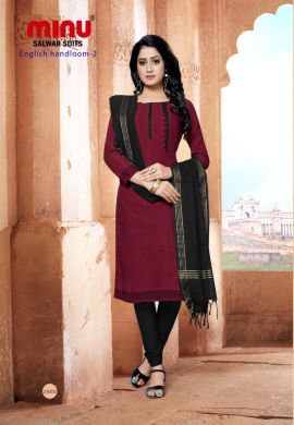 Minu Maroon Cotton Handloom Solid Color Designer Suit Salwarsuit