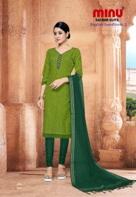 Minu Green Cotton Handloom Solid Color Designer Suit Salwarsuit