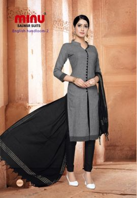 Minu Grey Cotton Handloom Solid Color Designer Suit Salwarsuit