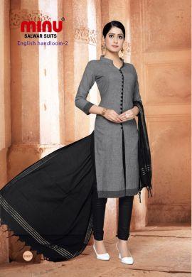 Minu Grey Cotton Handloom Solid Color Designer Suit Salwarsuit